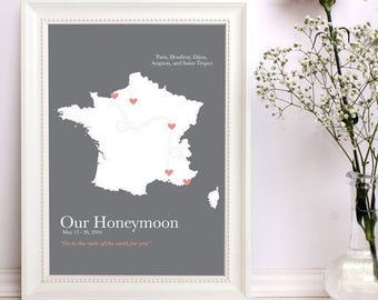 2 year anniversary, cotton anniversary map, 2nd anniversary, wedding map, second anniversary, gift for husband, gift for wife, honeymoon map