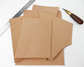 Various Sizes. 5 to 6 oz 10 Pack of Vegetable Tanned Leather Round Shape