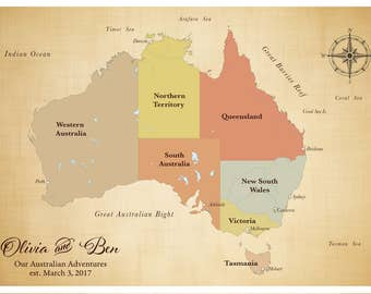 Sale australia push pin travel map australian state map etsy australian map personalized map anniversary map australia push pin travel map push pin map personalized map with pins gift for husband gumiabroncs Images