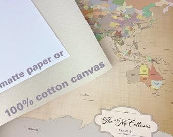 2nd Cotton Anniversary Gift for husband [ Push Pin World Map, Personalized Travel Map ] JW Design Studio