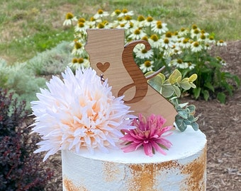 Initial Wedding Cake Topper with state [Any state wedding wood Cake Topper, Rustic Wedding Decor ] JW Design Studio