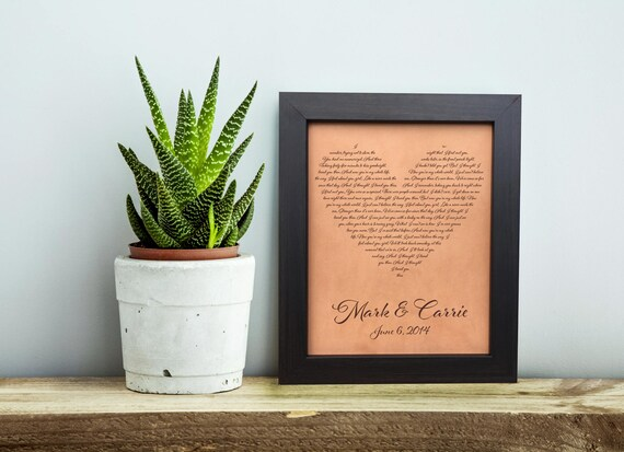 3rd Wedding Anniversary Leather Gifts: Song Lyrics Print Heart Lyrics 3rd Wedding Anniversary