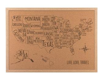 Cork map USA CorkBoard Personalized [ home office dorm RV decor] JW Design Studio