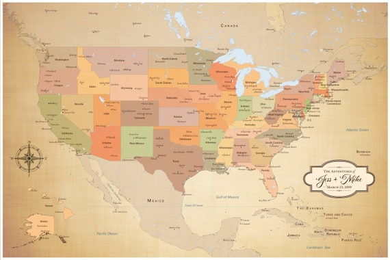 US Map with Cities Map of US States Personalized Push Pin Travel Map with  Pins