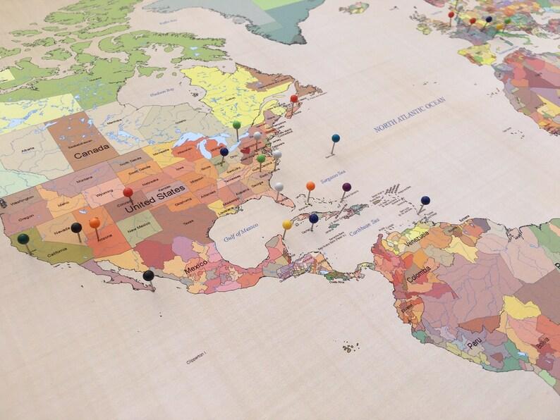 Cotton Anniversary Gift Push Pin World Map Travel World Map Etsy