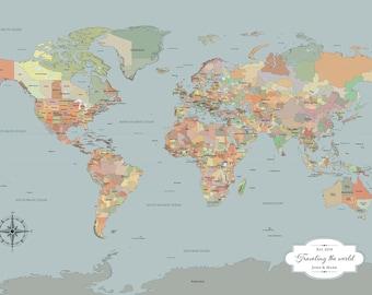 2nd anniversary gift for him personalized, push pin world map [ cotton anniversary, travel Christmas gift ] JW Design Studio
