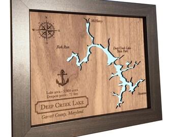 5ème cadeau d'anniversaire carte du lac bois découpé au Laser - n'importe quel lac - idée de cadeau d'anniversaire en bois