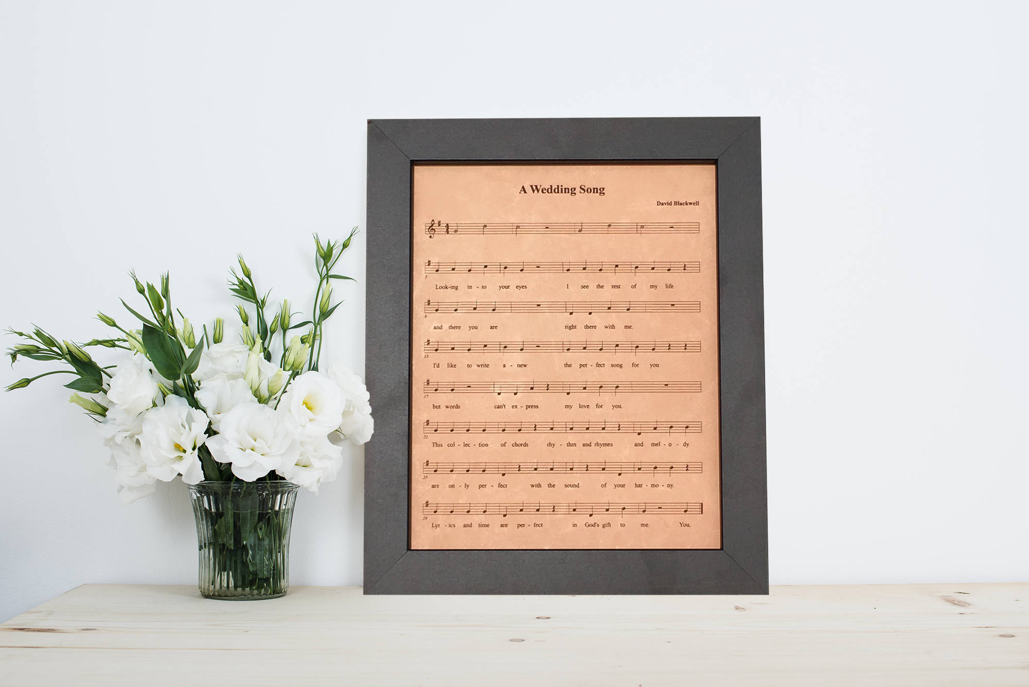 9th Wedding Anniversary Gift Leather: 9th Anniversary Leather Gift For Him Engraved Sheet Music