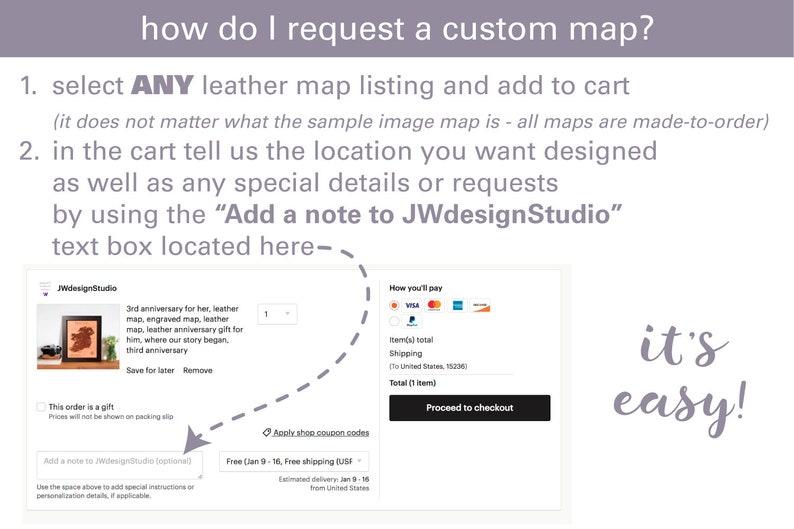 honeymoon map, keepsake anniversary map, leather anniversary gift, made to  order custom map