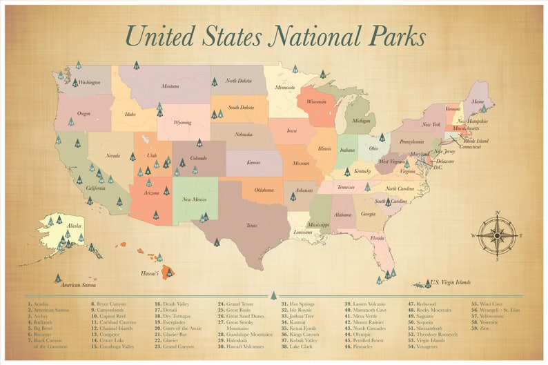 SALE US National Parks Map push pin adventure map List of | Etsy