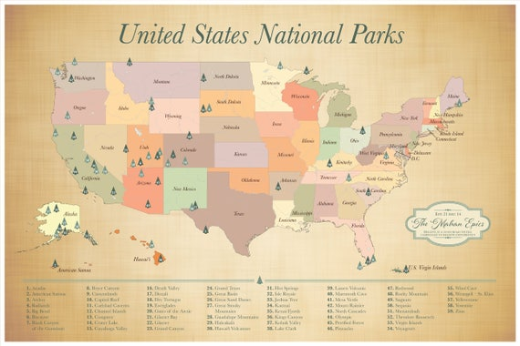 US National Parks map push pin map American Parks Map | Etsy