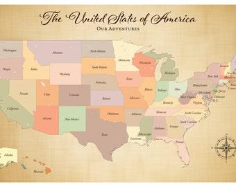 SALE! Push Pin USA Map, Paper Anniversary Gift, Push Pin Travel Map, Large Map Art Print, Push Pin Map USA, Wall Decor, rustic 24 x 36 inch