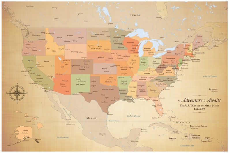 United States Map with Cities USA Map with Pins Cotton Anniversary for Him  Paper Anniversary for Her
