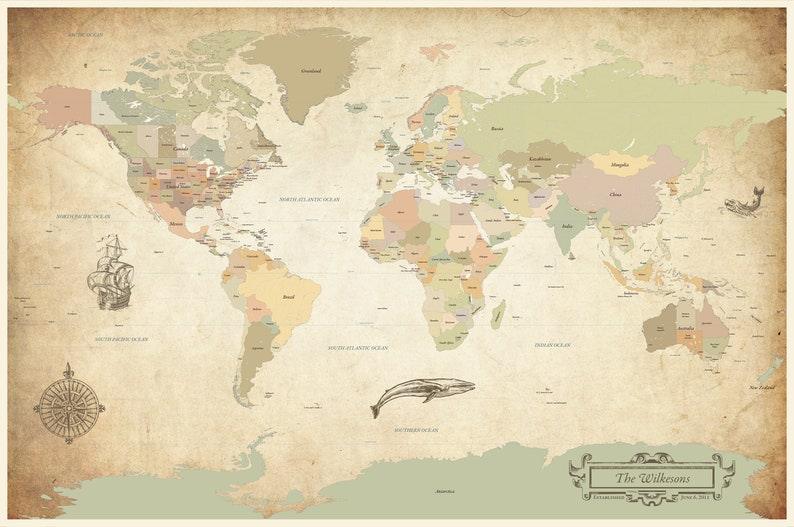 Cotton Anniversary Gift Antique World Map Vintage World   Etsy on