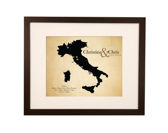 Cotton anniversary gift for her - gift for wife - 2 years together - anniversary gift idea - Italy honeymoon wedding print