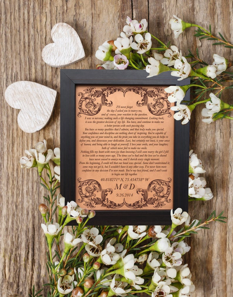46b1763fcd17 Wedding Vows Leather Anniversary Gift 3rd anniversary 9th