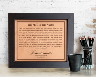 Man in the Arena by Theodore Roosevelt engraved leather wall art [ graduation gift, lawyer, inspirational ] JW Design Studio