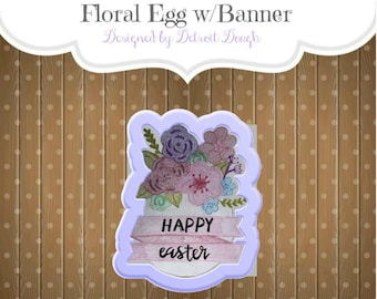 Floral Egg w/Banner Cookie Cutter