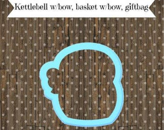 Kettlebell 2 with bow cookie cutter, Snowman with scarf cookie cutter, giftbag cookie cutter, basket cookie cutter