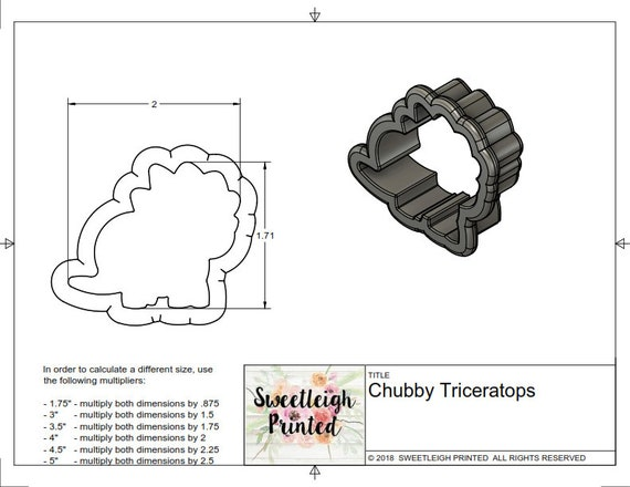 Chubby Triceratops Cookie Cutter Chubby Dinosaur Dino Etsy