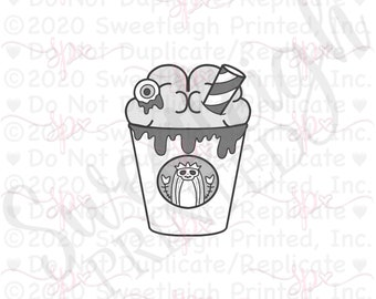 Zombie Frappuccino with Straw Cookie Cutter