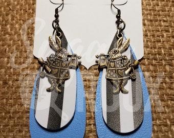 Leather Earrings Alice in Wonderland | I'm late