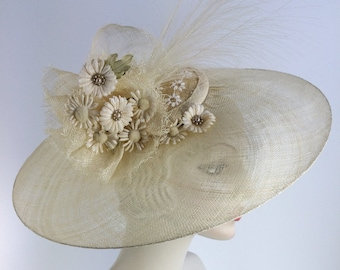 Ivory Derby Hat Fascinator Feather Hatinator