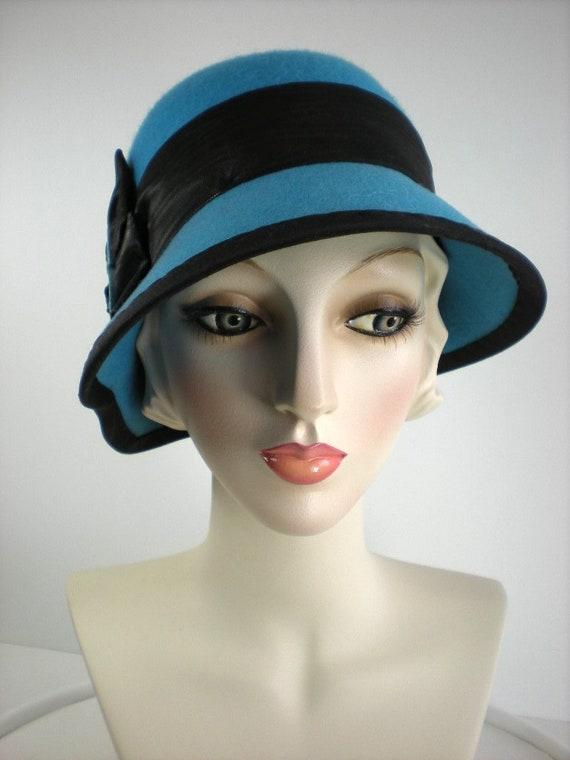 2393d5d24f7 Womens Hats Winter Hats 1920s style Wool Cloche Hat Blue