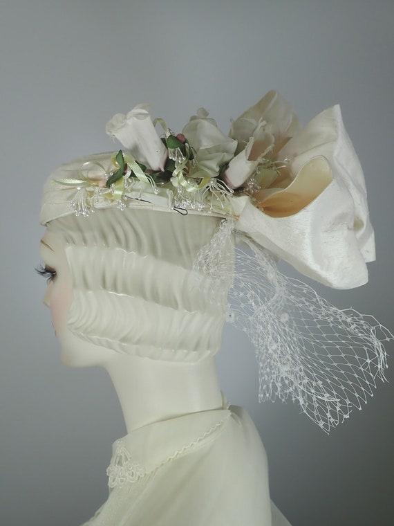 Ivory Wedding Hat. Silk 1990s Bridal Pillbox hat.… - image 6