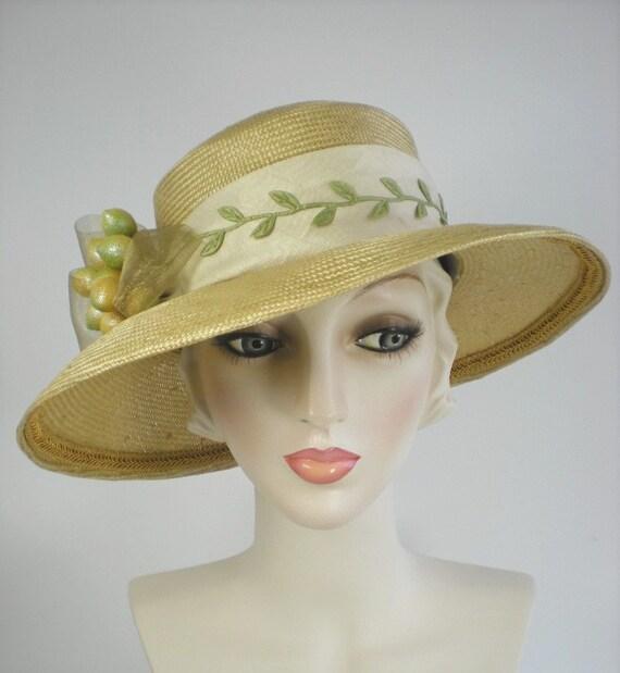 Straw Hat Womens Hat Gold Straw Hat Gold Ascot Hat Gold  64a8b2d2f9d0