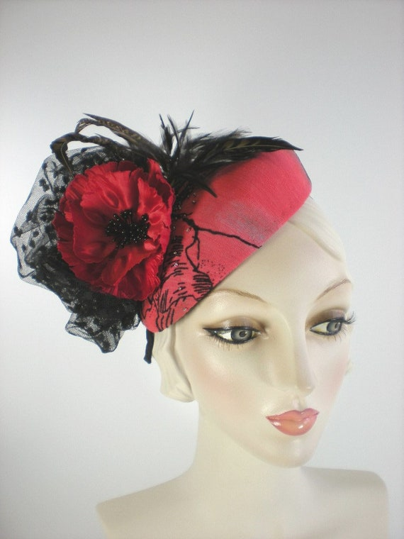 Red Womens Fascinator Hat Red Hat Red Cocktail Hat Cocktail  de62a95a5d6