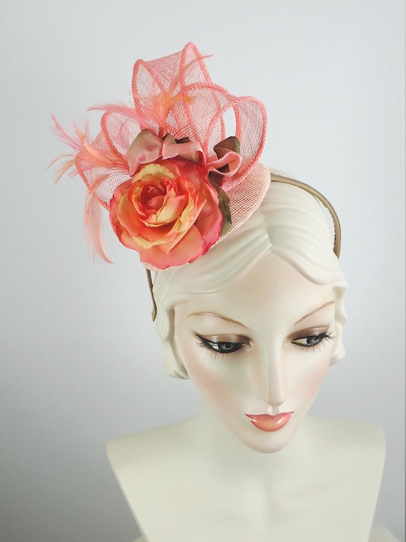 0ccce1a1 Peach Sinamay Fascinator Pink Church Hat Ladies Tea | Etsy
