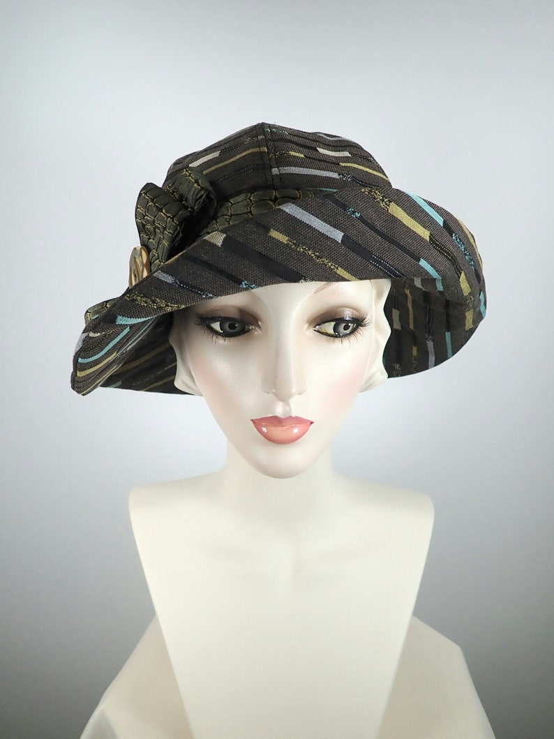 What a Great Hat Gold and Teal Miss Fisher Medium Brim Hat Brown Black