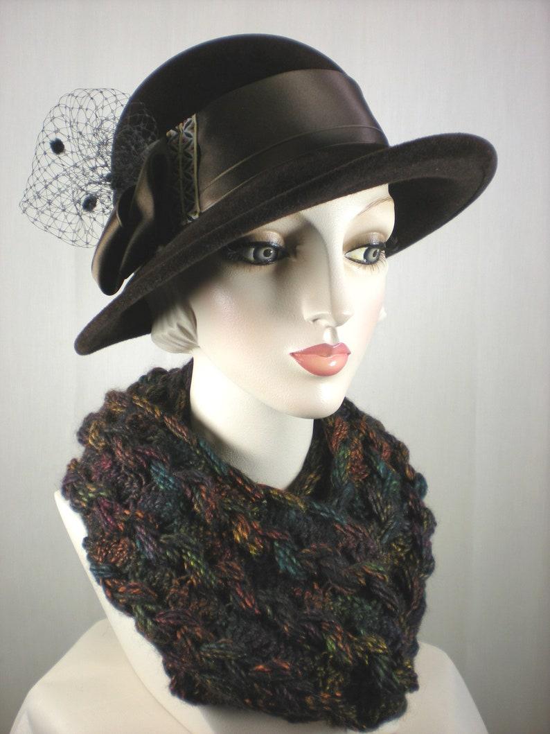 98f8c72f4a2 Brown Womens Wool Winter Hat Brown Wool Felt Cloche Hat