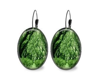Enchanted Forest Oval Earrings