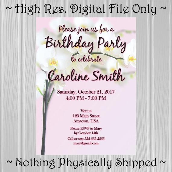 Zaproszenie Na Przyjęcie Urodzinowe Dla Dorosłych Orchidea Etsy