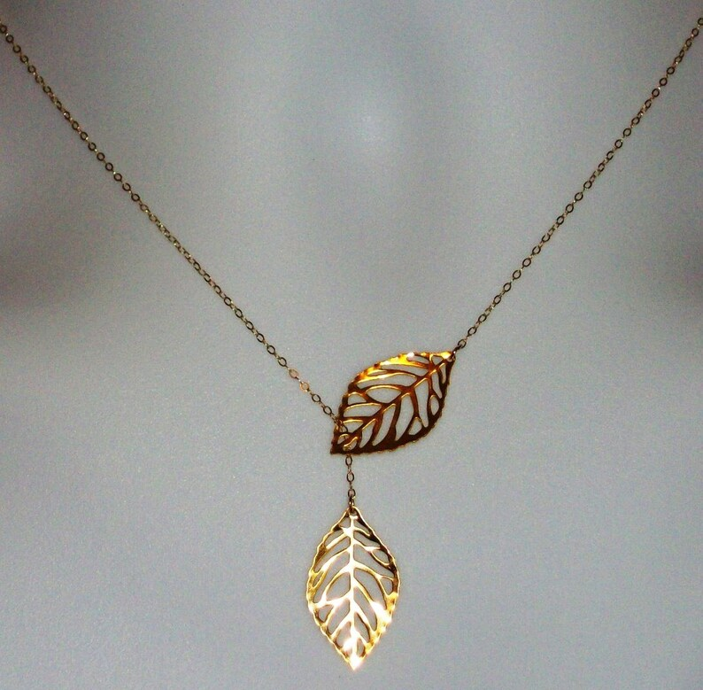Leaf Lariat Necklace Gold filled Leaf Lariat Necklace Bridesmaid Gifts, gold Valentines Day Gold Leaf Lariat yellow Set of Four