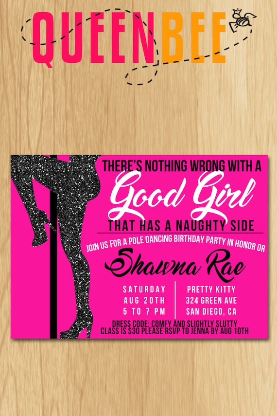 Pole Dancing Birthday Party Invite With Free Game Card Digital File