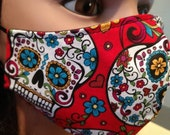 Red Sugar Skulls Fabric Face Masks w sewn in Filter, Small Kids, Teen Adult Small, Adult Med, Adult Lg, Adult XLg