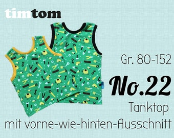 Ebook timtom No.22 | Ebook Tanktop | vorne-wie-hinten-Ausschnitt | Gr. 80-152 | DOWNLOAD | Schnittmuster | Rio | Ebook nähen