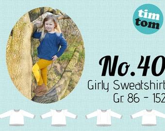 Ebook timtom No.40| Girly Sweatshirt | Gr. 86-152 | Ebook Sweatshirt| Sweater | Sweatshirt mit Rüschen | Flügel | Ebook nähen