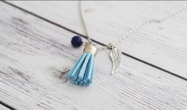 Angel wing necklace - lapis lazuli - charm necklace, wing necklace,  guardian angel charm, angel wing pendant, tassel necklace, wing necklace
