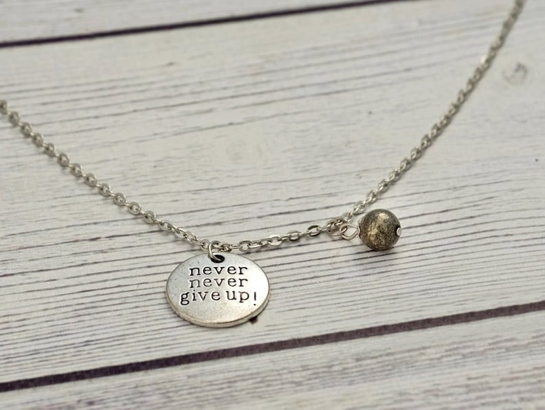 Never give up - pyrite necklace, crystal necklace, meaningful jewelry,  motivational, healing crystal, protection necklace,semiprecious
