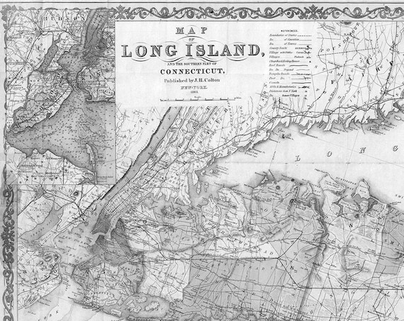 Long Island Gift Map, Long Island Map, Map of Long Island, Long Island NY, Long  Island Decor, Old Map, Vintage Map of Long Island, Map Art