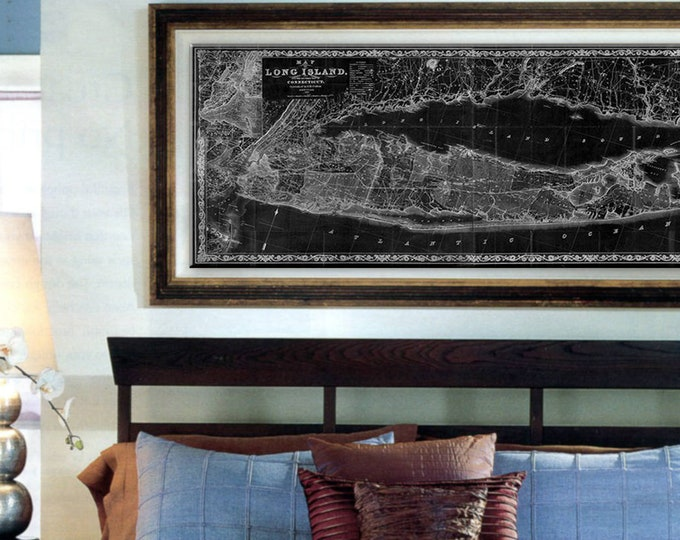 Featured listing image: Long Island wall Map vintage map prints 1863 old Long Island map Restoration Hardware Style Map New York Large Map Map Art Print Gift Idea