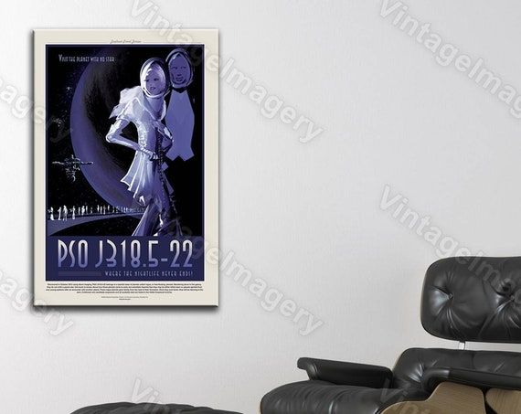 NASA JPL Space Travel Poster PSO J318.5-22 Where the Nightlife Never Ends ExoPlanet Space Art Great Astronomy Gift idea