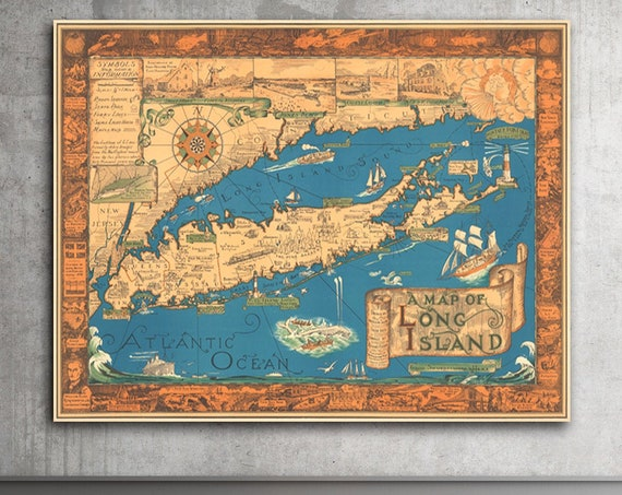 Historic Map - A Vintage Map of Long Island by Courtland Smith, Rustic Wall Art, Long Island Map Gift Reproduction Poster, Vintage Wall Art