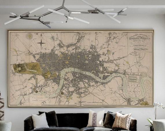 London England Map Print Large Vintage Historic Old 1807 Antique london Wall Map Fine Art Print Vintage Map decor gift