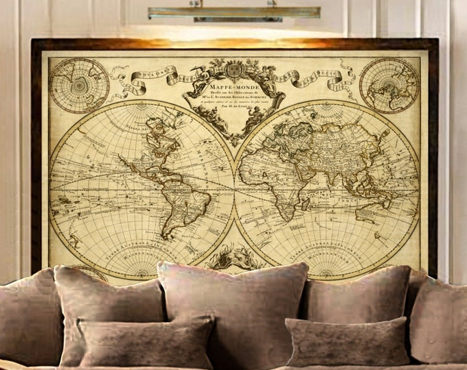 Featured listing image: 1720 Old World Map,World Map wall art, Historic Map Antique Style map art Guillaume de L'Isle mappe monde Wall Map Vintage Map Home Decor