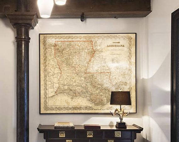 Antique Louisiana Map 1886 Historic Old Map of Louisiana Restoration decor Style Louisiana Wall Map Vintage Map Home Decor cool Gift Idea